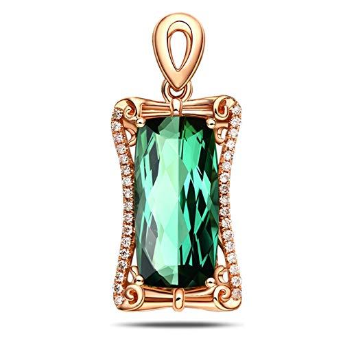 Daesar 18K Collana Oro Rosa Donna 5ct Tormalina Verde A Forma di Cuscino Collane Diamanti Ciondolo Collana Bambinacollana Amicizia Ragazze