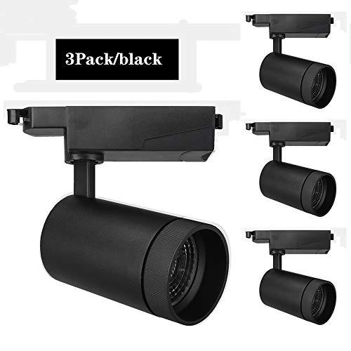 Aione Focos comerciales Kit de 3 LED luz de Techo en riel luz cálida Natural y fría Blanca/Blanca cáscara,35wBlack,4000k