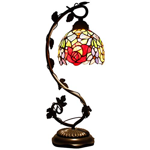 Tiffany Desk Lamp Red Rose Style Stained Glass Table Reading Light W6h20 Inch S001 WERFACTORY Lamps Lover Girlfriend…