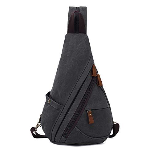 FANDARE Unisex Brusttasche Sling Bag 3 in 1 Herren Rucksack Damen Schulranzen Junge Mädchen Schulrucksack Schultertasche Umhängetasche für Schule Freizeit Reise Pendeln Joggen Daypacks Dunkelgrau