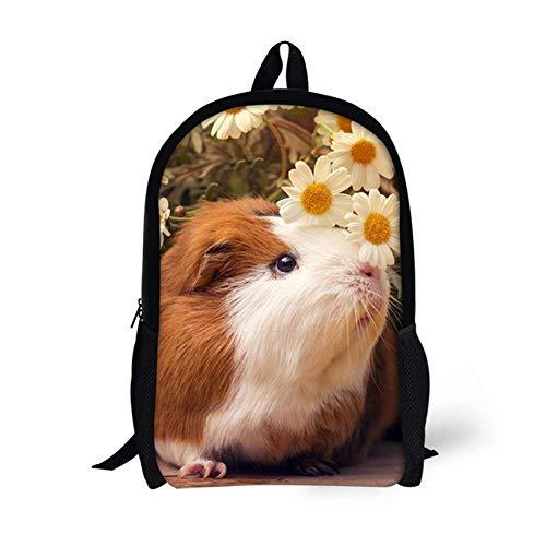 YEGFTSN Guinea Pigs Flowers Backpack School Bag Bookbag for Kids Boys Girls 17inch