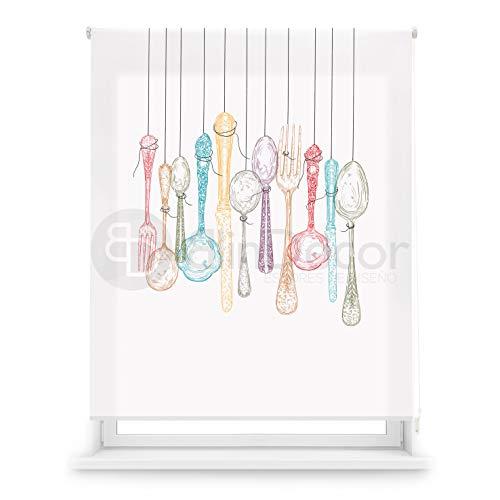 Blindecor Estor Enrollable translúcido Cocina, Cutlery, 130 x 180 (Ancho x Alto)