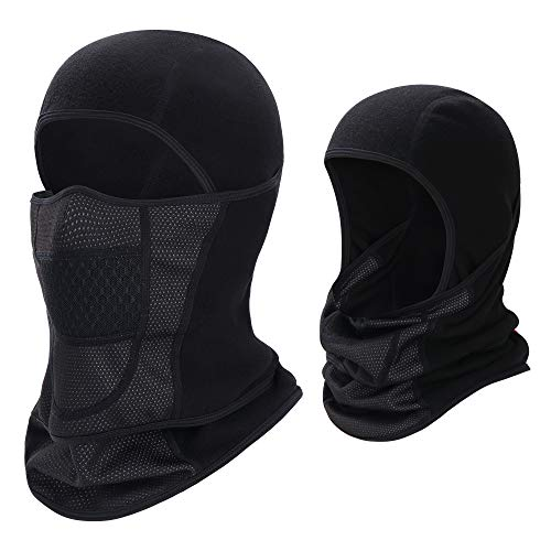 Balaclava Ski Mask, Movable Waterproof Face Mask for Men Women Skiing, Black