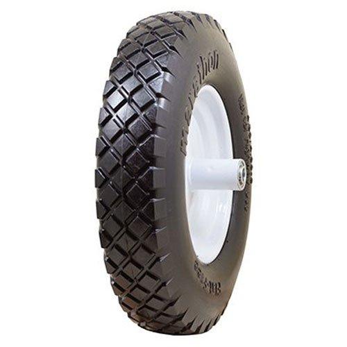 "Marathon 4.80/4.00-8"" Flat Free Wheelbarrow Tire on Wheel, 6"" Centered Hub, 5/8"" Ball Bearings, Knobby Tread"