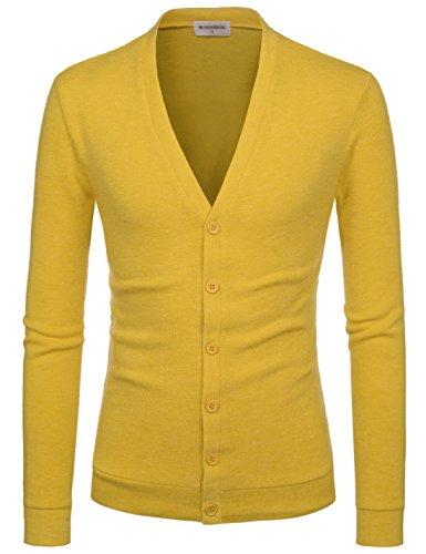 NEARKIN (NKNKCAC1 Mens Knitwear City Casual Slim Cut Long Sleeve Cardigan Sweaters Mustard US S(Tag Size S)