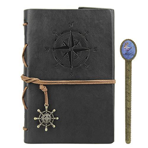 Notizbuch A5 Retro Leder Tagebuch Journal Travel Reisetagebuch Notebook Skizzenbuch mit Lose-Blatt-Bindung für Reise und Aufschreibung