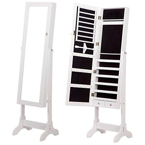 Espejo Joyero Vestidor Tocador de Pie Armario Lacado Blanco Grande 155x41x38cm