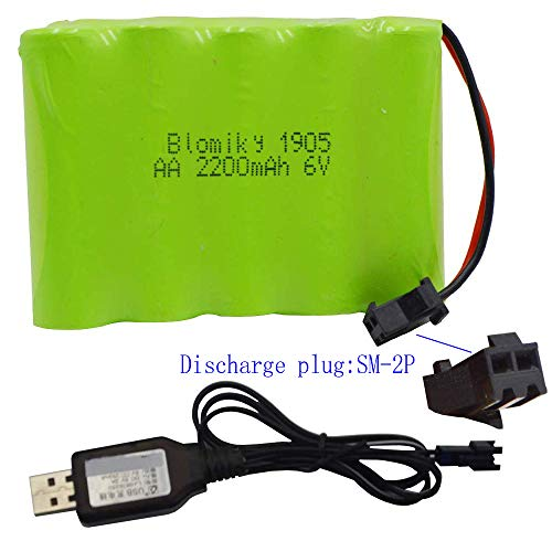 Blomiky 6V 2200mAh Ni-MH AA Rechargeable Battery Pack with SM-2P Black 2Pin Plug and USB Charger Cable for RC Truck Cars Vehicles 6V NiMh