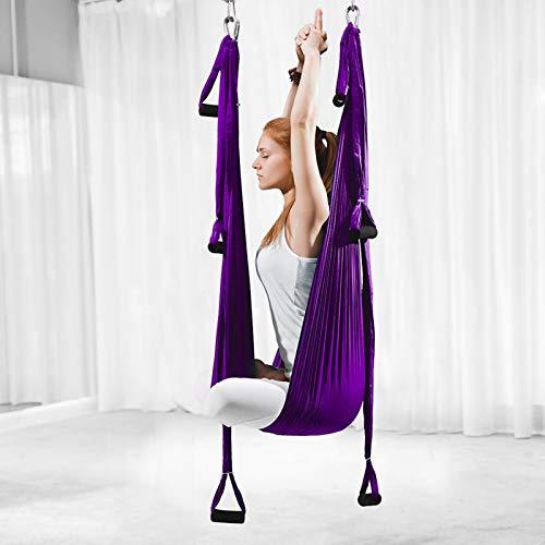 ZKLNO Hamaca Yoga Aérea Inversión para Interiores, Hamaca Fitness con Columpio Yoga, Hamaca Antigravedad Tela Paracaídas para Exteriores, Columpio Yoga Aéreo,Herramienta para Gimnasio,Púrpura