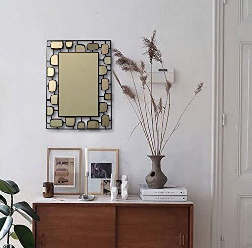 BAUPOR uniek design hal metalen wandspiegel decoratieve spiegel voor entrees woonkamer, wasruimtes en kantoor moderne muurkunst werken zwart frame 38x54 cm