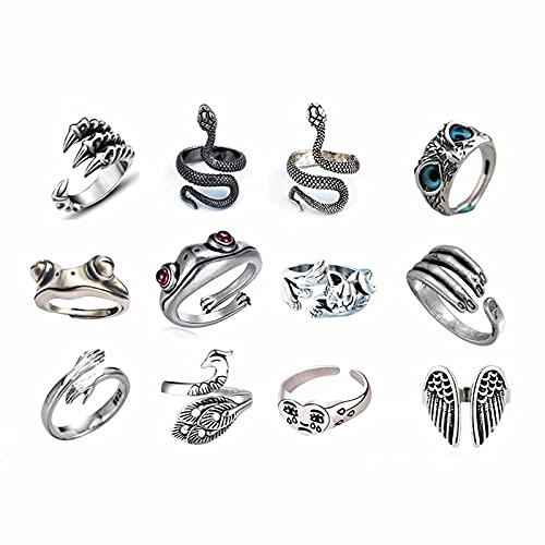 Juego de anillos ajustables para mujer, anillos punk vintage, anillo de acero inoxidable ajustable de dragón serpiente, juego de anillos abiertos de acero inoxidable de 12 piezas