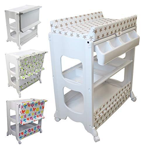 Cambiador, mesa de cambio con bañera y almacenamiento - 3 colores - Norma EN 12221