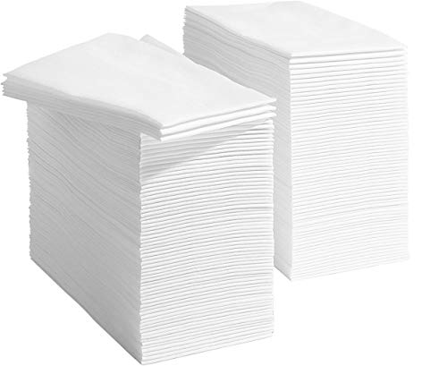 250 Linen Feel Disposable Bathroom Napkins - White | Disposable Guest Towels | Wedding Napkins | Paper Napkins | Disposable Paper Hand Towels for Guest Bathroom, Parties, Weddings, Dinners Or Events