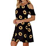 Misyula Style Women Summer Cold Shoulder Floral Flowy T-Shirt Dress with Pockets (X-Large, A-Black Yellow)