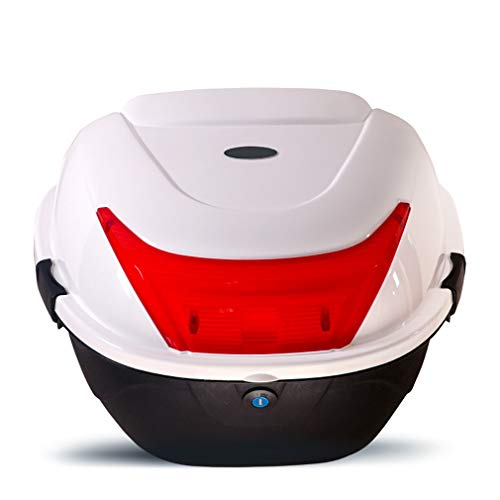 Motorcycle Tour Tail Box Trunk Luggage Top Lock Storage Carrier Case w/Soft backrest-20L Capacity - Can Store Helme(40x36x29cm)