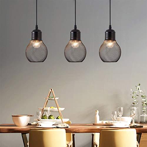 OYGROUP Lámpara Colgante Industrial Retro Metal E27 Bombilla En Forma de Negro Acabado Colgando Luminaria para Isla de la Cocina Comedor Casa de Campo SIN BOMBILLAS