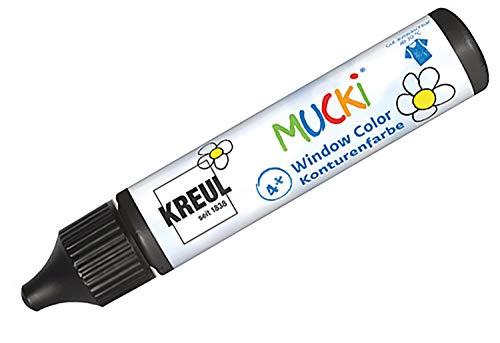Kreul 24430 - Mucki Window Color, Konturenfarbe schwarz, 29 ml Pen, Fenstermalfarbe auf Wasserbasis, parabenfrei, glutenfrei, laktosefrei, vegan, leicht vermalbar, auswaschbar