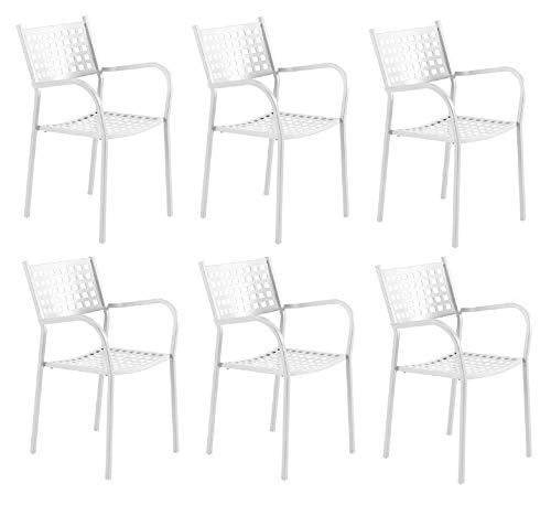 Chaise fauteuil pour usage extérieur modèle ALICE CH1550 Blanc Perle * * * OFFRE pour 6 pièces * * * zingué et vernie à poussières pour résister aux intempéries – produite en Italie de vermobil