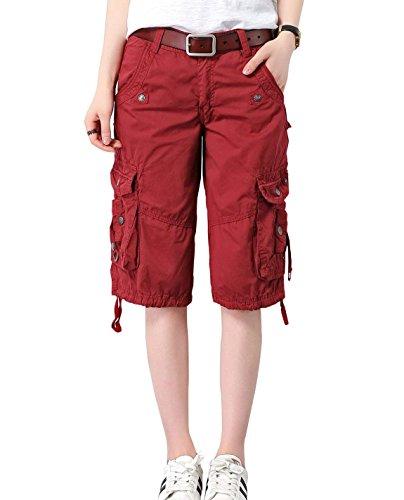 Minetom Bermuda Cargo Shorts Damen Knielang Sommer Kurze Hose Frauen Lose Stretch Boyfriend Knopfleiste Tasche Stoffhose Leinenhose Freizeithose Große Größen Weinrot Large