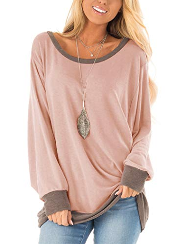 Fallorchid Women's Long Sleeve Crew Neck Tunics Loose Fit Casual Color Block Tops Pink