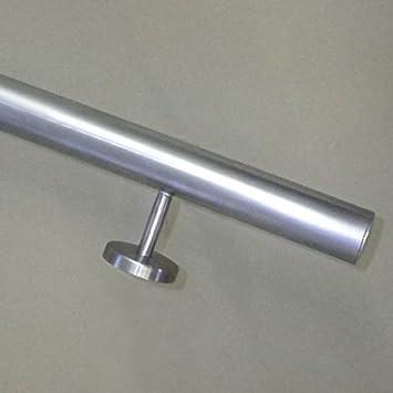 Edelstahlhandlauf ModellTIBU-Line /Ø 33,7mm mit Halter und leicht gew/ölbten Endkappen in verschiedenen L/ängen 050cm 2 Edelstahl-Halter