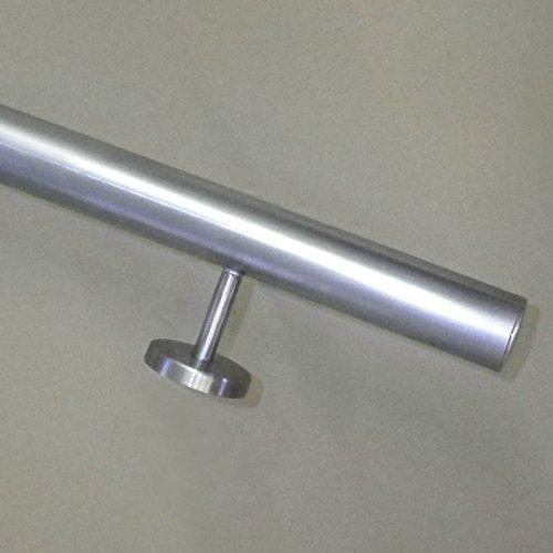 Edelstahl Handlauf Ø42,4mm mit geraden Handlaufhaltern/Brüstung (aus einem Stück/ungeteilt) (180cm 2 Edelstahl-Halter)