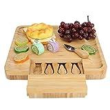 Tagliere per formaggi in bambù e set di coltelli,...