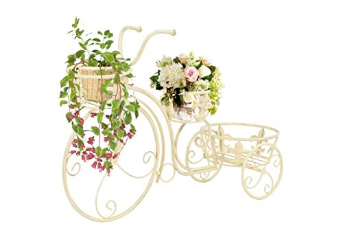 Portafiori con telaio metallico, mensola per piante a forma di bicicletta, per casa, balcone, corridoio, giardino, cortile, patio
