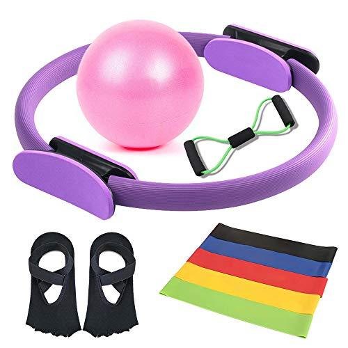 SolForis Pilates Ring Set Yoga Fitness Training Ring Pilates Ball Resistance Loop Band 8-Shaped Resistance Band Non Slip Yoga Socks Home Exercise Gym Yoga Equipment Set