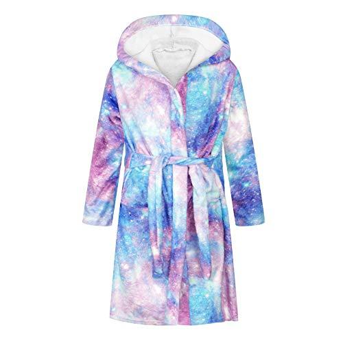 JinBei Peignoir de Bain Enfants Fille à Capuche Robes Enfant Doux Pyjamas Vêtements de Nuit Adolescent Kawaii Pyjamasque, Avoir une Ceinture, Impression Ciel étoilé violet, 4-6 Ans