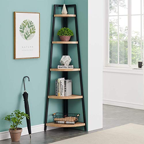 O&K FURNITURE 5 Shelf Industrial Corner Bookcase and Shelf, A-Shaped Display Corner Storage Rack Bookshelf-70-Inch, Vintage Brown