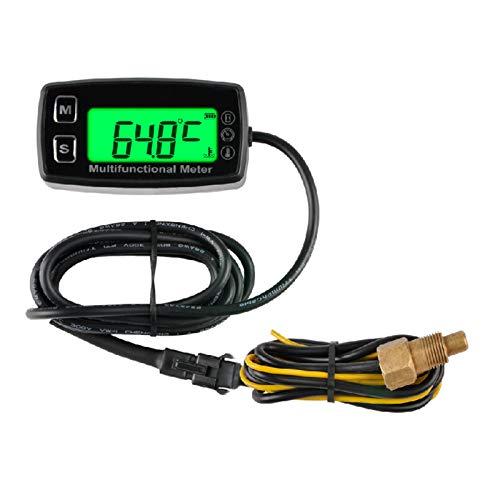 Runleader Digitales Öl-Wasser-Temperaturmessgerät, Echtzeit-Drehzahlanzeige, Alarmtemperatur und Drehzahl, Arbeitszeiterfassung für den Rasenmähergenerator Dirtbike-Außenborder-Motorroller-Kompressor