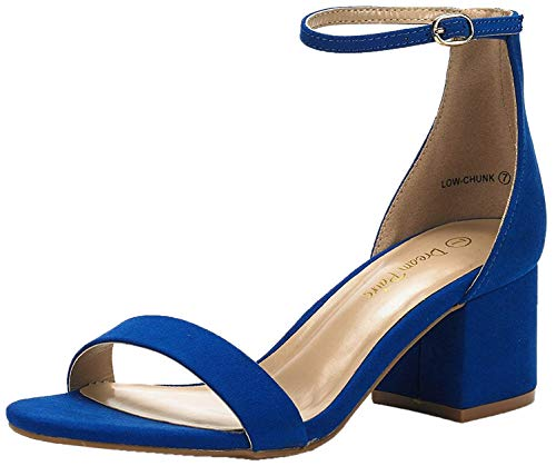 DREAM PAIRS Low-Chunk Sandalias de Tacón Bajo Pump para Mujer Azul Real 42 EU/11 US