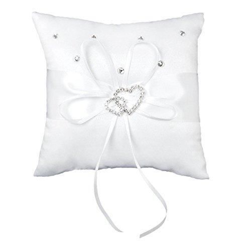 Lumanuby 1 cojín blanco con lazo para alianzas y anillos de boda,...