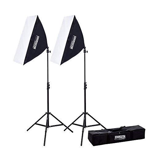 Fovitec – 2 Softboxstudioleuchten Für Video Und Fotoaufnahmen (51 cm x 71 cm) EZ Setup, Gesamtleistung Entspricht 850 Watt [Automatisches Aufklappen] [Dauerbeleuchtung] [85-W-Leuchtmittel]