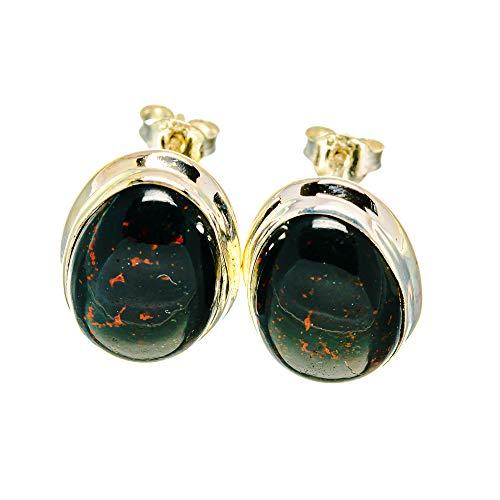 Ana Silver Co Bloodstone Earrings 3/4' (925 Sterling Silver)