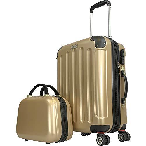 CODE|ONE® 2er-Set | Trolley + Beautycase | Handgepäck | Hartschale | Doppel-Leichtlaufrollen | CODEONE (Frosted Almond)