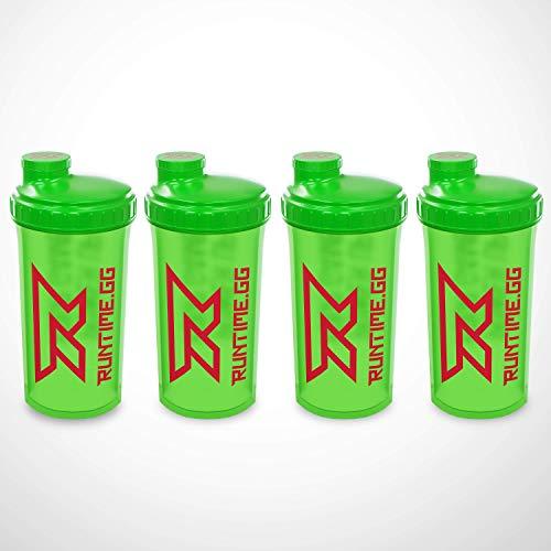 Runtime Protein-Shaker | Sport-Flasche für Nutrition und Fitness | 700ml Fassungsvermögen | mit Sieb - 100% dicht | BPA-frei - inkl. Messskala (4x Neon Green)