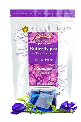 Premium Dried 30 Tea bags Butterfly pea tea flower dried Origin in Thailand Natural Taste