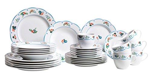 Domestic by Mäser 926908 Serie Vieux Jardin, vajilla 30 Teilig para 6 Personas, Porcelana con decoración contemplar un