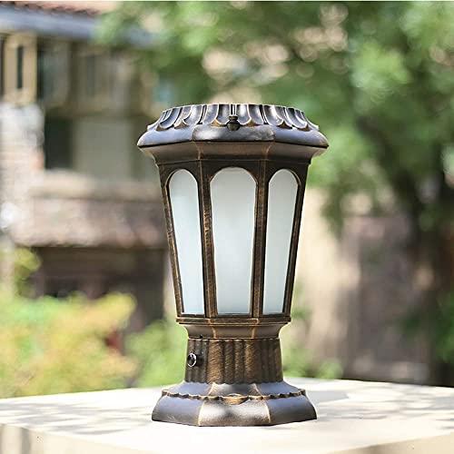Energía Solar Impermeable Vintage Poste para Exteriores Luces de Pilar E27 Óxido a Prueba de Lluvia Lámpara de Columna Retro de Aluminio Linterna de Vidrio para Patio Jardín Paisaje