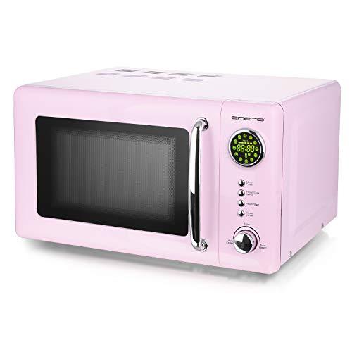 Rosa/Pink 700 Watt Mikrowelle 20 Liter Garraum Drehteller Retro Design Emerio MW-112141.1 Mikrowellen-Gerät