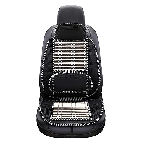 judysen Ergonomic Bamboo Car Seat Pad - Car Seat Office Chair Bamboo Chip Coverfor Car Breathable Cool Black Mesh Support Cushion Pad for Lumbar/Back Pain Relief (Upgrade)