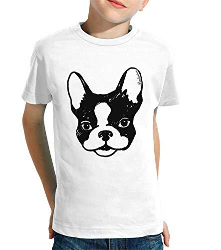 latostadora - Camiseta Bulldog Frances para Nino y Nina Blanco XS
