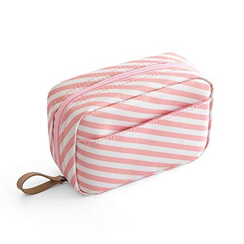 Mini Femmes Portable Trousse de maquillage Solide Make Up Bag Imperméable Voyage Sac de toilette de stockage Maquillage Housse,Pink stripe,L