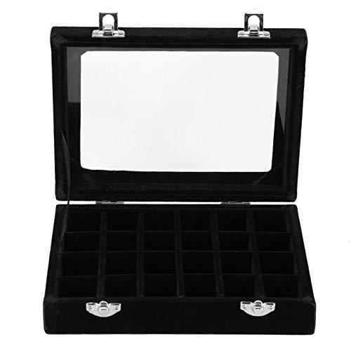 Joyero - 24 rejillas, terciopelo, cristal, joyería, anillo, pulsera, exhibición, organizador, estuche, caja de almacenamiento, pendientes, decoración de uñas vacía(schwarz)