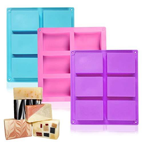 Socluer Seifenformen Silikonform, 3 Stück 6-Cavity Rechteckig Silikon Backform für Seifenherstellung, Eiswürfel, Schokolade, Biscuit DIY Blau Pink Violett
