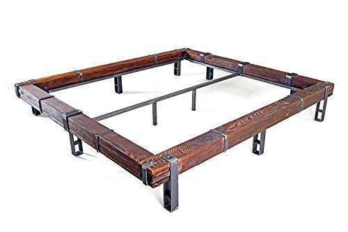CHYRKA® Massivholzbett Balkenbett Bett Doppelbett Massivholz LEMBERG Loft Vintage Industrie Design Handmade Holz Metall (Natur, 180 x 200 cm (ohne Kopfteil))