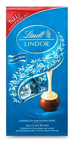 Lindt Lindor Beutel Milchcrème, Vollmilch-Chocolade mit einer zartschmelzenden Milchcrème-Füllung, 1 er Pack (1 x 137 g)