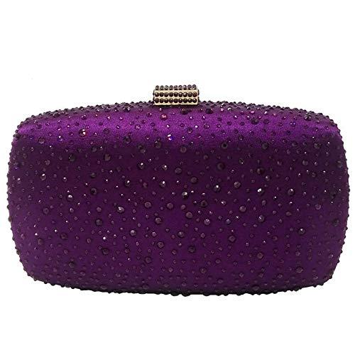 MIC-moonjack Bolsa De Banquete De Diamantes Clutch Mujer Fiesta Cartera De Mano Para Boda Fiesta Baile -Púrpura oscuro
